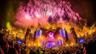 tommorowland stage during night