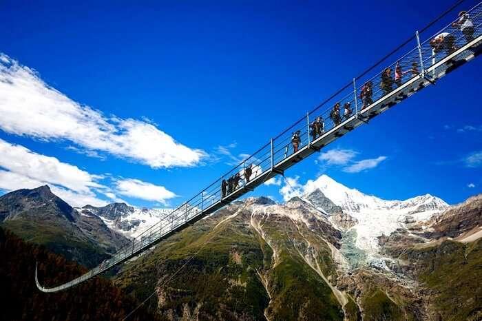 hanging bridge in switzerland