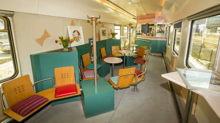 built into colorful train compartments