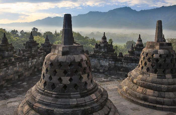Java Island's Borobudur temple top view