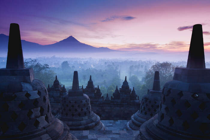 Borobudur temple in Java Island of Indonesia