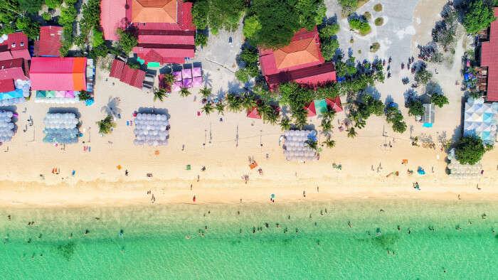 Coral Island bird eye view, Thailand