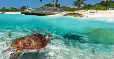 A marine national park in Seychelles