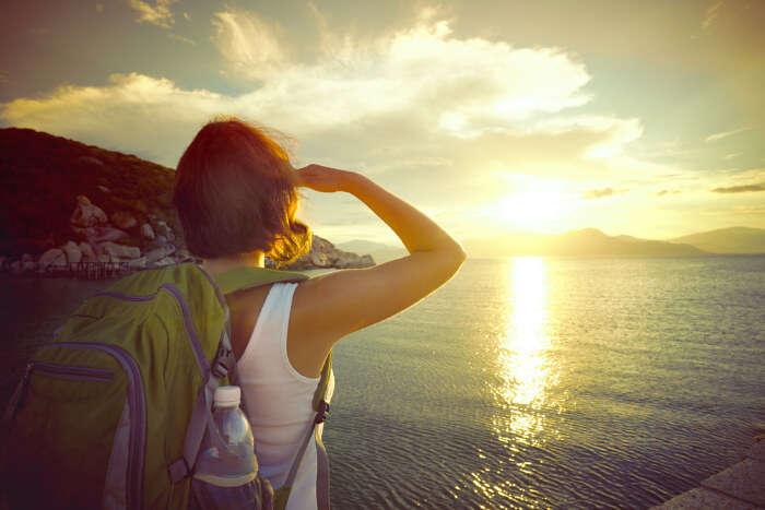 A traveler looking at the way