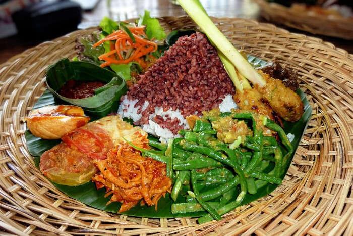 An Indonesian main course platter