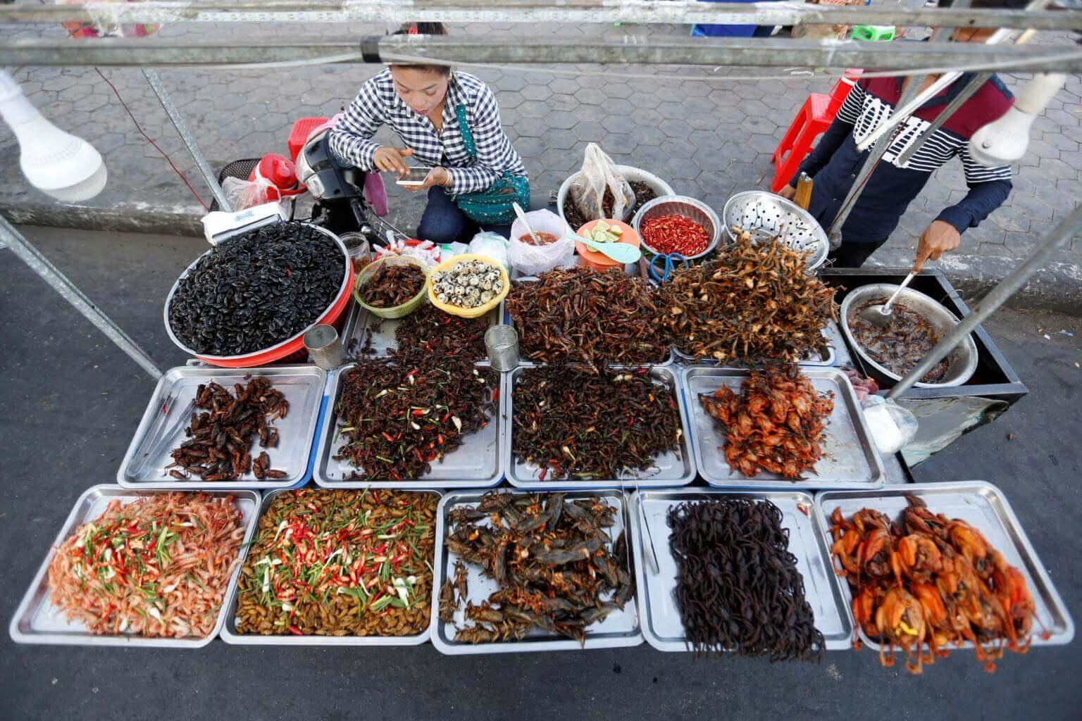 Thai delicacies in the food market