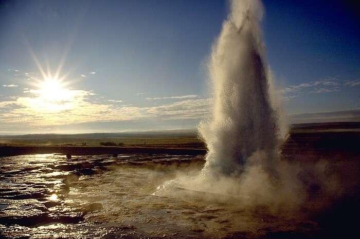 elaxing in hot water springs and geysers