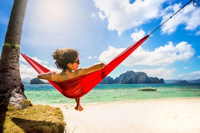 woman chilling on hammock in cebu
