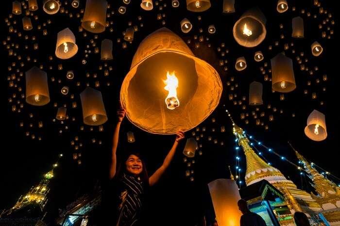 girl during lights festival