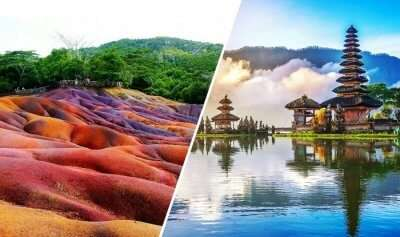 views of famous places in bali and mauritius