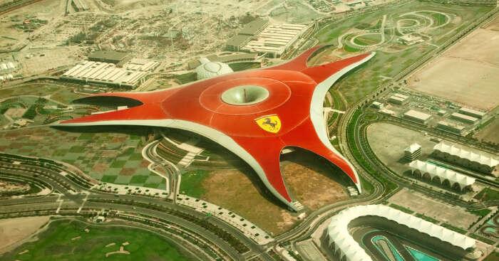 Bird eye view of Ferrari World park in Abu Dhabi