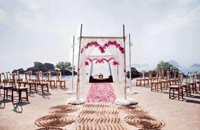 Phulay Bay Ritz Carlton, Krabi Top Indian wedding planner for Weddings in Hua Hin, Phuket, Rayong, Pattaya. Thinking of a Thailand wedding? Call/WA +919910325805   +919899744727 now!