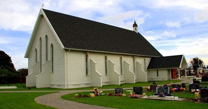 garden surrounding church