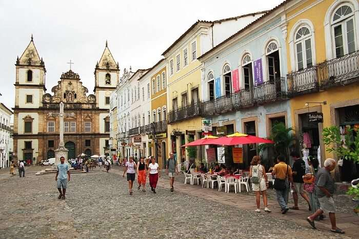 pastel-coloured buildings