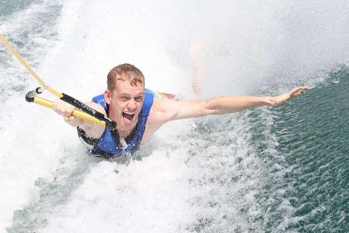 man enjoying water sport