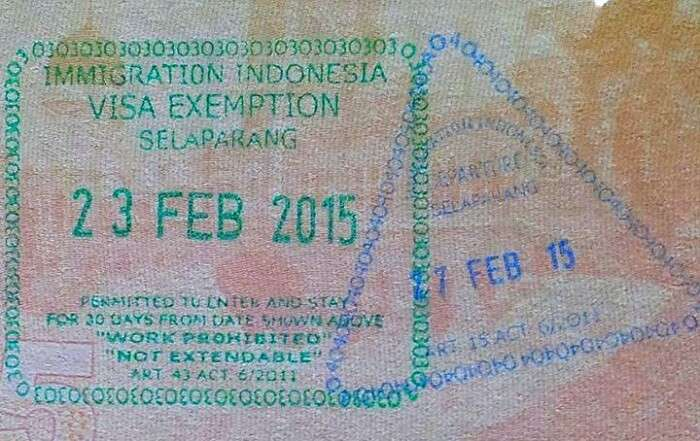 visa stamp of indonesia