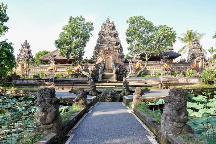 beautiful view of ubud water palace temple