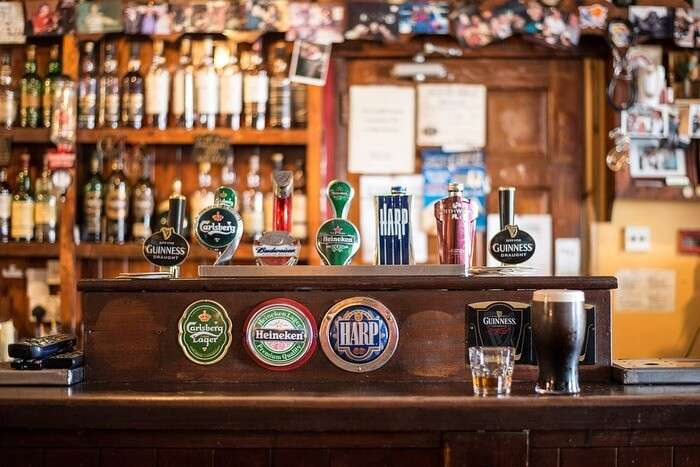 Drinks view inside the bar