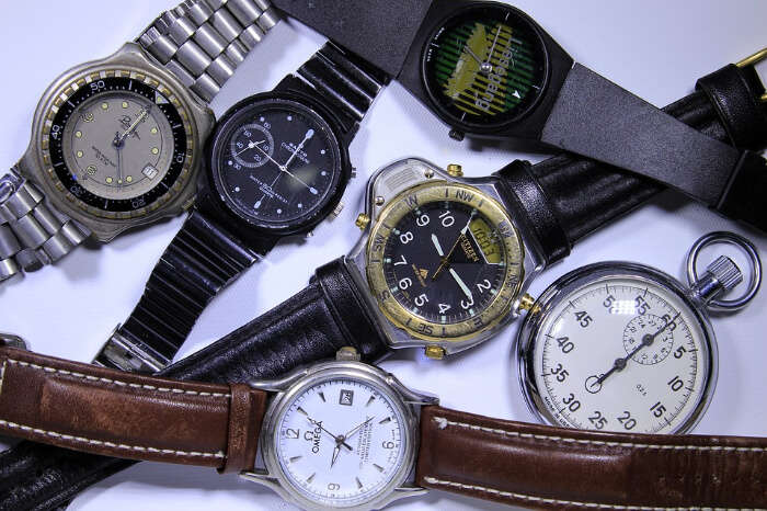 Watches in a watch store