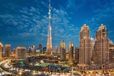 A night view of Burj Khalifa and surroundings in Dubai