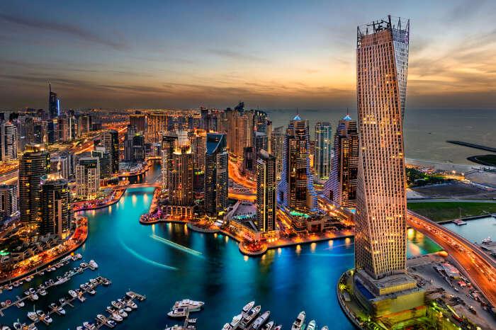 A bird eye view of the beautiful high rises in Dubai