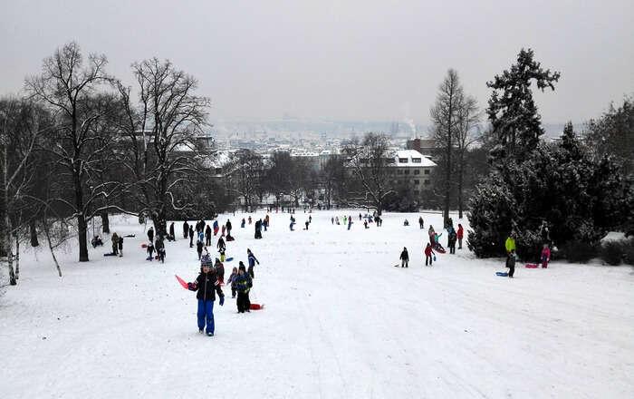 Ice-skating in snow