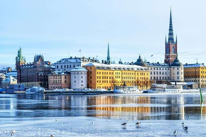 beautiful view of sweden in snow