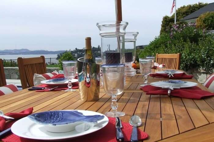 Teak Dining Table Setting Outdoor Dining Luxury