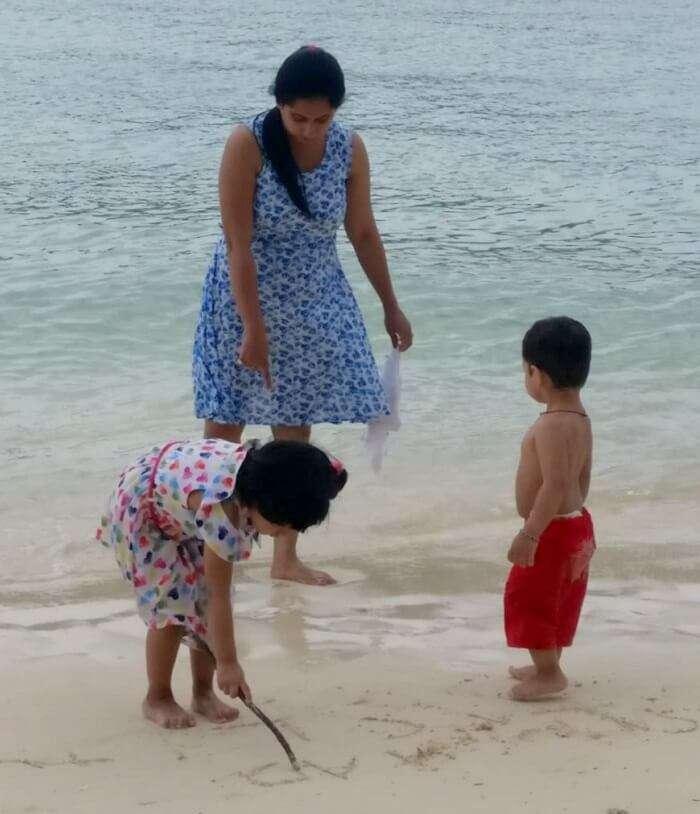 Family fun at beach