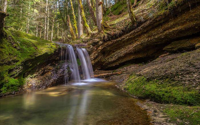 Beautiful colored waterfall