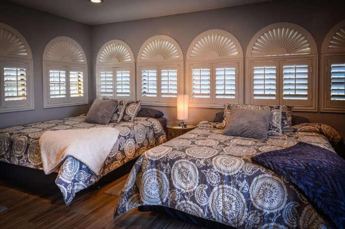 A grand bedroom in a villa