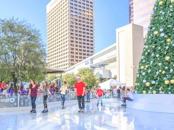 People skating during christmas in Phoenix