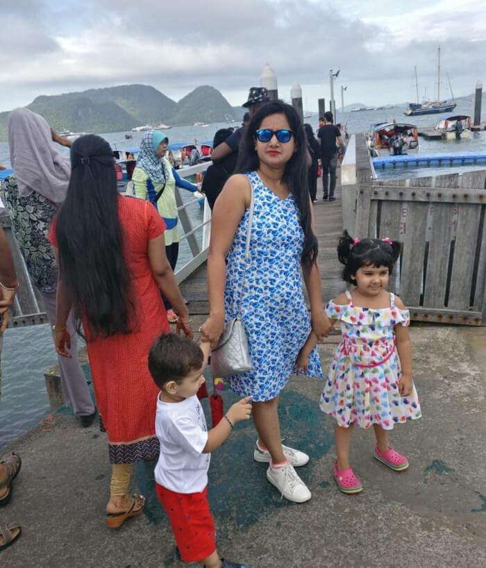 My wife with my children at Malaysia