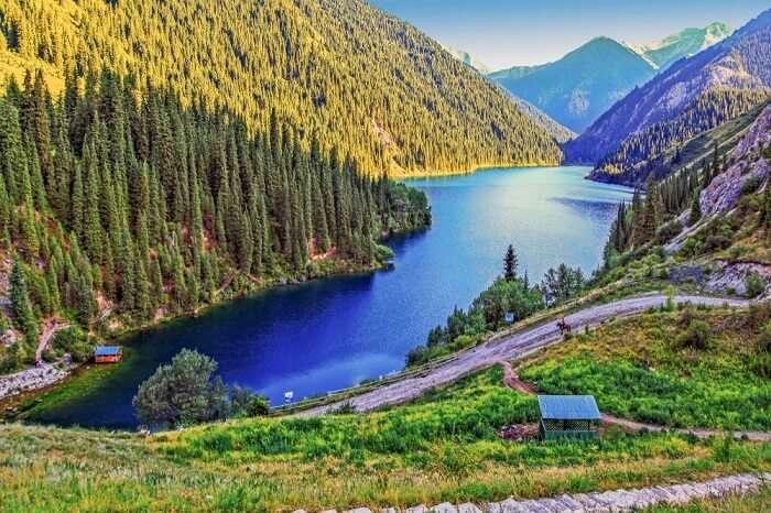 kazakhstan summer lake