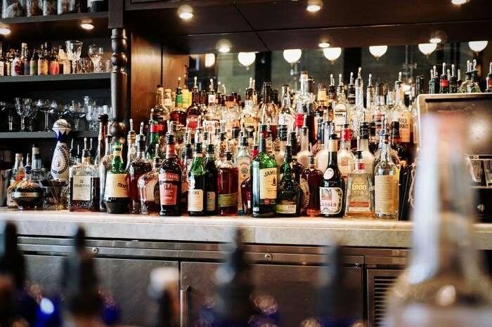 Bar Beer Bottles Counter Alcoholic Beverages