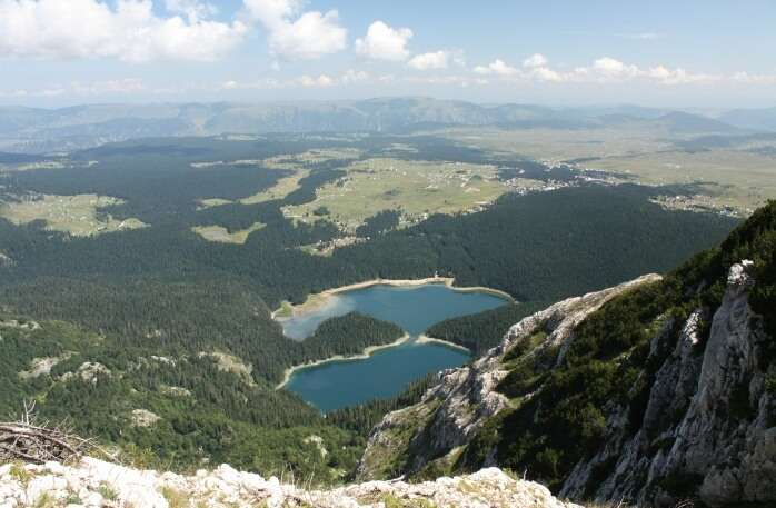 View of Crno jezero from Mali Meded