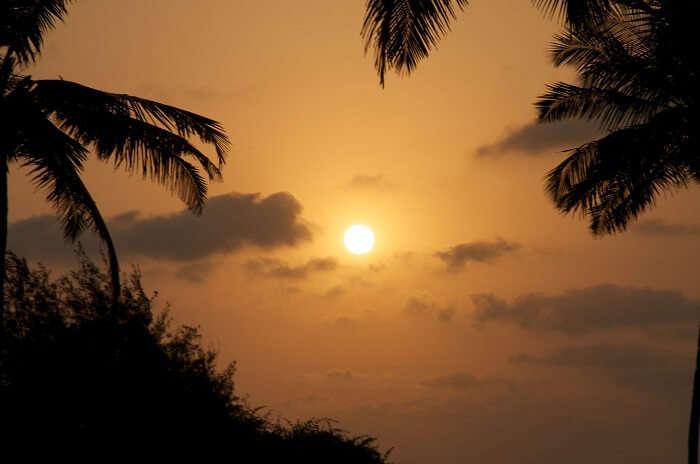 sunset in benaulim