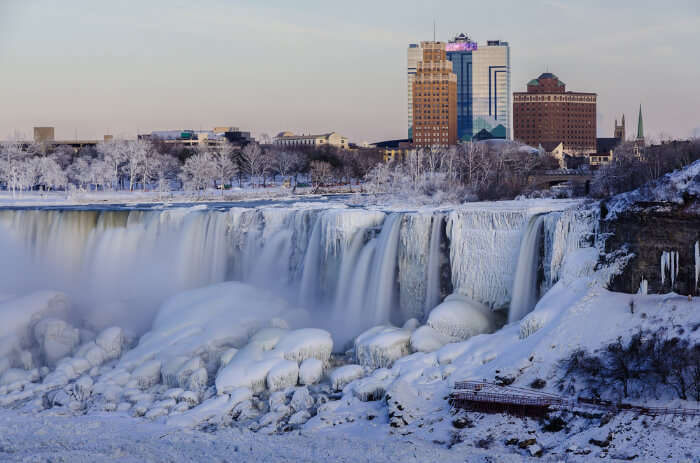 Frozen Niagara Falls in USA