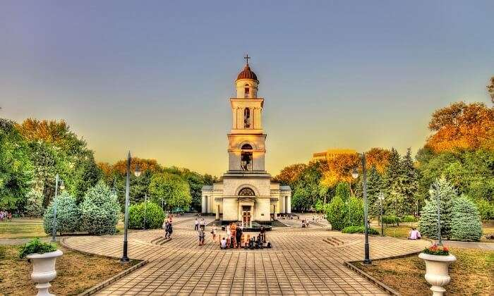 tourist near bell tower in chisinau