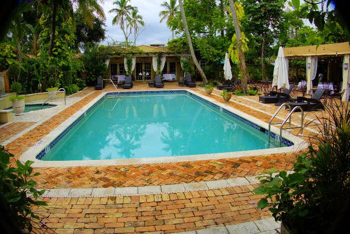 A backyard pool in a hotel