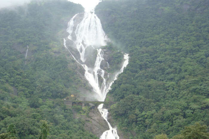 Waterfall between the greenery