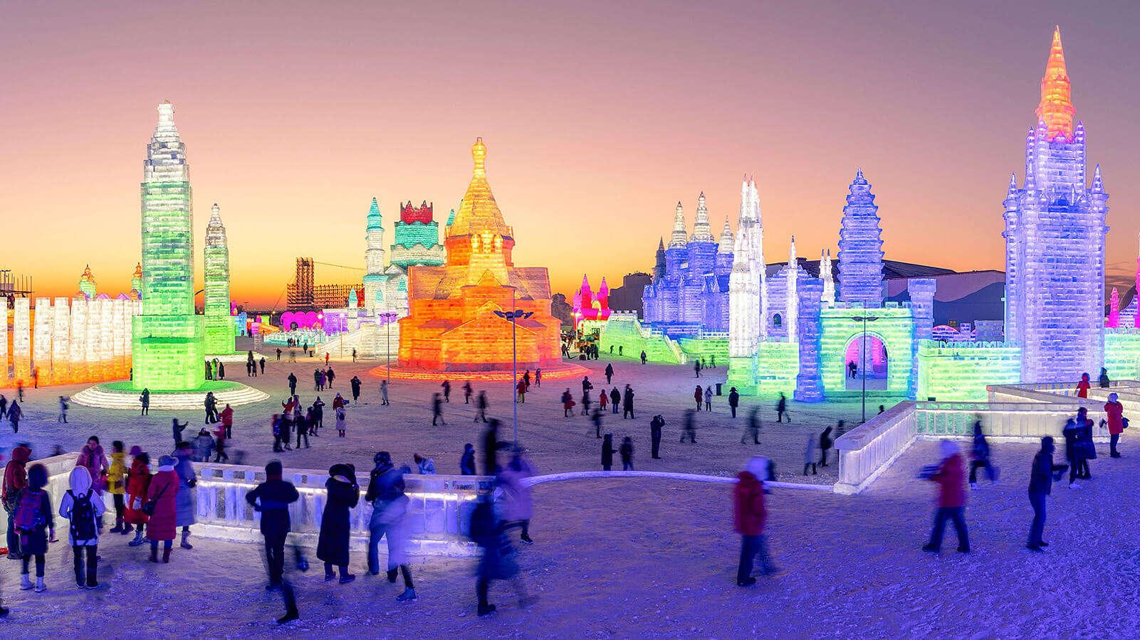 beautiful ice sculptures in Harbin