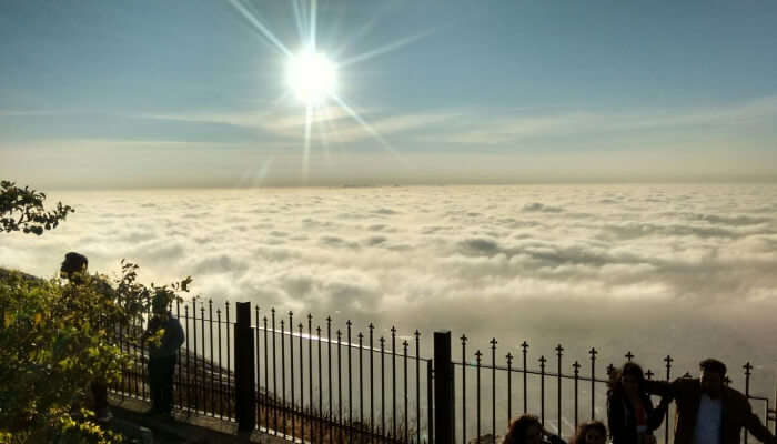breathtaking view of clouds and sun