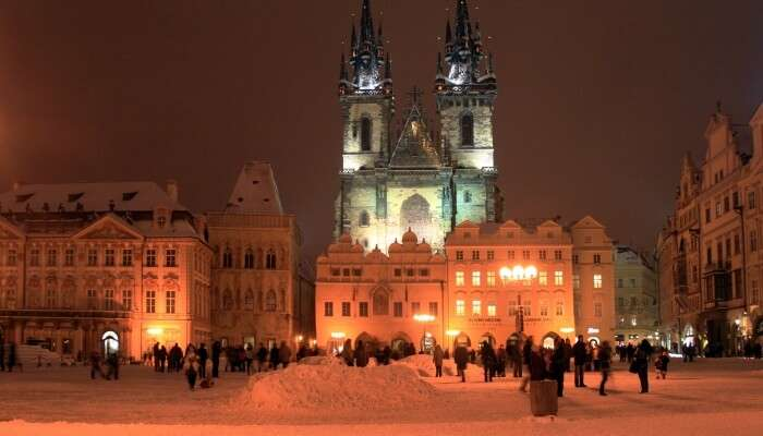 snowfall in Prague