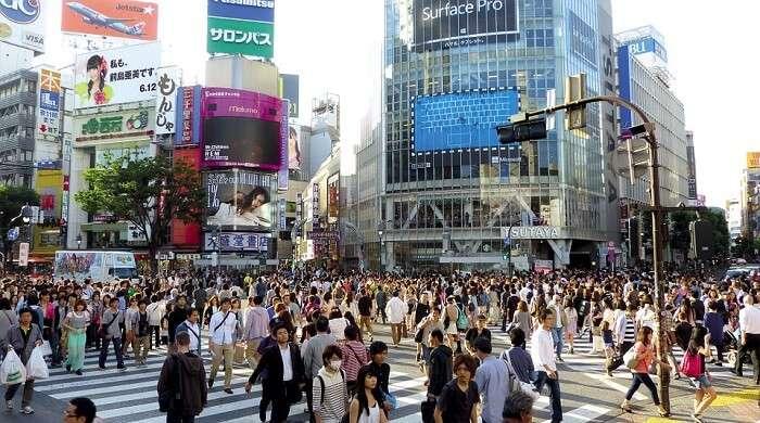 people crossing the road in Japan