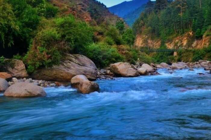 River running between mountains