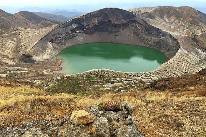 famous crater lake in Tohoku