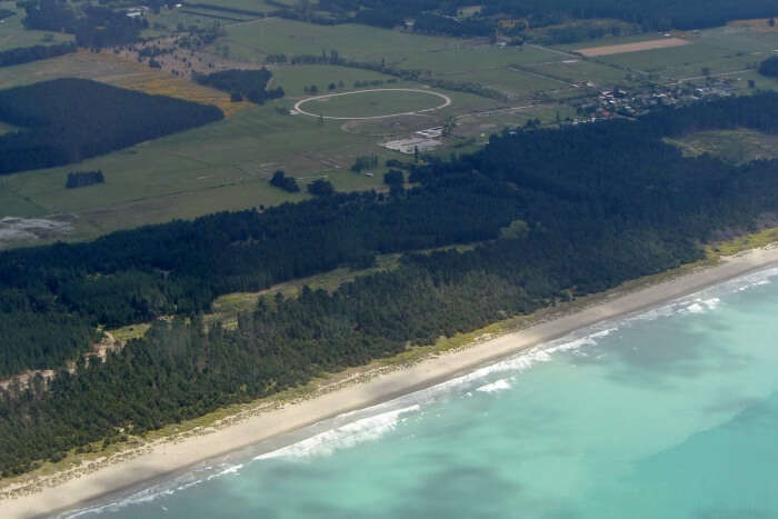 Flight from Rotorua to Queenstown. Woodend Beach, South Island