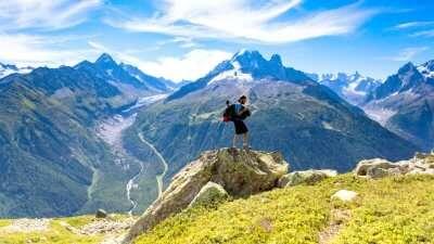 tourist on mont blanc