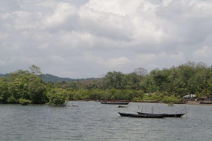 Fishing boats at an island in Andaman